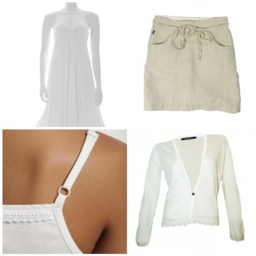 organic cotton cardigan. eco skirt, white organic dress