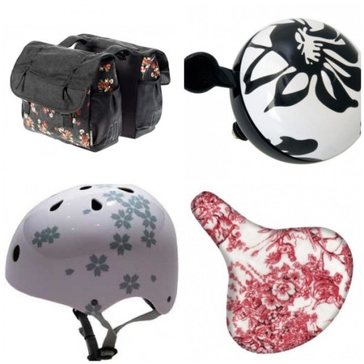 cycling accessories, eco living, floral cycling accessories